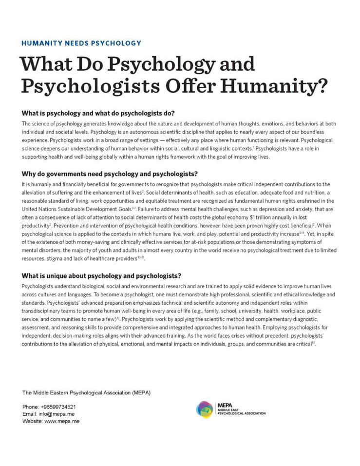 What do Psychology and Psychologists offer humanity